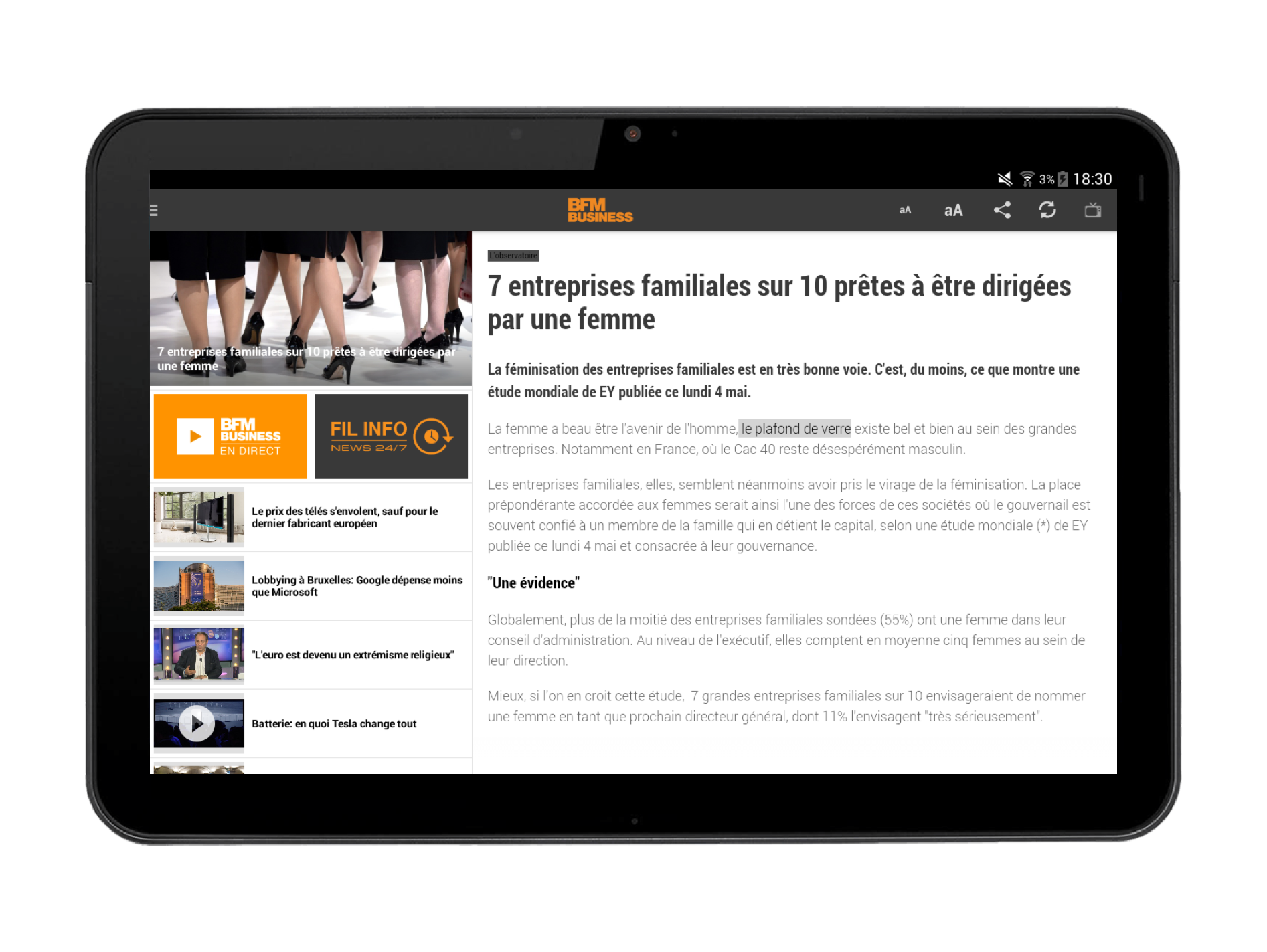Application Android pour tablettes